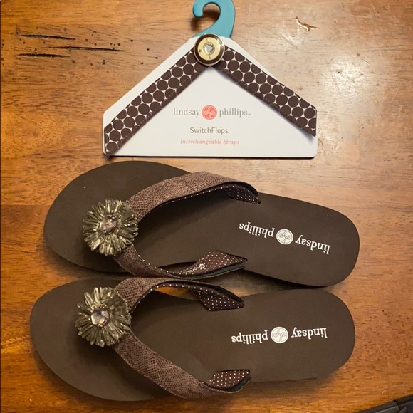 Lindsay Phillips Wedge Switchflops - Brown, Size 9